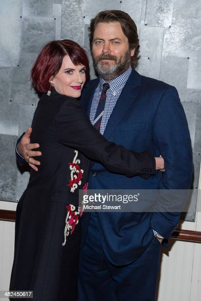 Actors Megan Mullally and Nick Offerman attend 'Guys And Dolls' after party at Remi on April 3 2014 in New York City