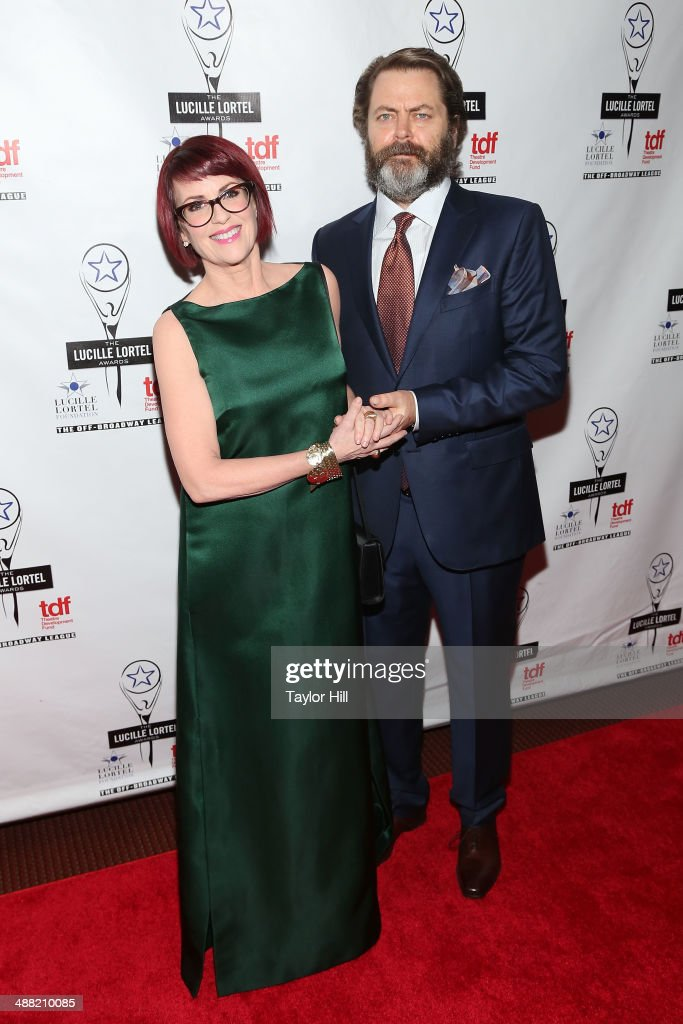 Actors <a gi-track='captionPersonalityLinkClicked' href=/galleries/search?phrase=Megan+Mullally&family=editorial&specificpeople=201612 ng-click='$event.stopPropagation()'>Megan Mullally</a> and <a gi-track='captionPersonalityLinkClicked' href=/galleries/search?phrase=Nick+Offerman&family=editorial&specificpeople=3142027 ng-click='$event.stopPropagation()'>Nick Offerman</a> attend the 29th Annual Lucille Lortel Awards at NYU Skirball Center on May 4, 2014 in New York City.