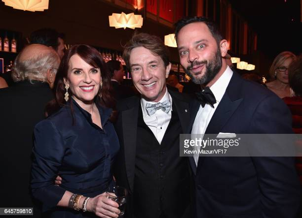 Actors Megan Mullally Martin Short and Nick Kroll attends the 2017 Vanity Fair Oscar Party hosted by Graydon Carter at Wallis Annenberg Center for...