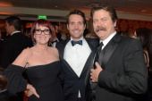 Actors Megan Mullally Will Forte and Nick Offerman attend HBO's Official Golden Globe Awards After Party at The Beverly Hilton Hotel on January 12...