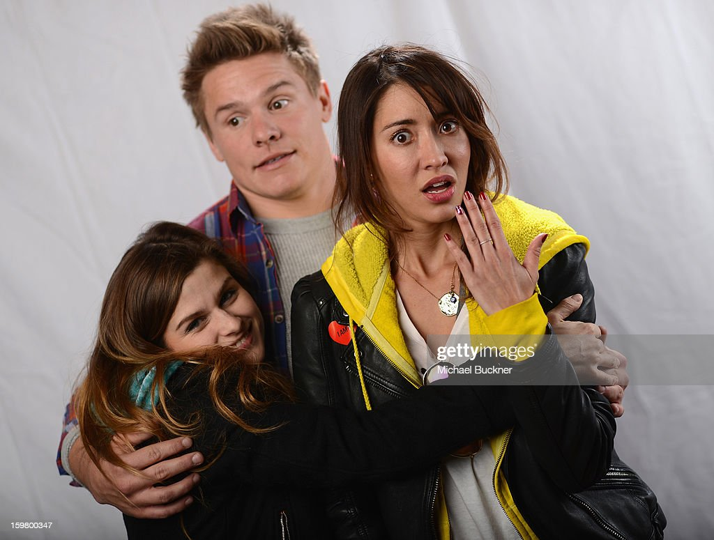 Actors Meghan Falcone, Tony Cavalero and <a gi-track='captionPersonalityLinkClicked' href=/galleries/search?phrase=Fernanda+Romero&family=editorial&specificpeople=2330305 ng-click='$event.stopPropagation()'>Fernanda Romero</a> poses for a portrait at the photo booth for MSN Wonderwall at ChefDance on January 20, 2013 in Park City, Utah.