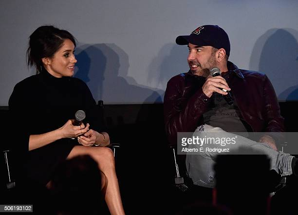 Actors Meghan Markle and Rick Hoffman attend a QA following the premiere of USA Network's 'Suits' Season 5 at Sheraton Los Angeles Downtown Hotel on...