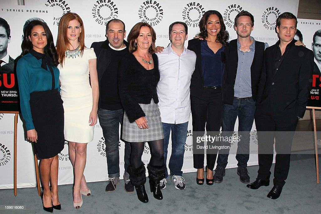 Actors Meghan Markle, Sarah Rafferty and Rick Hoffman, Universal Cable Productions COO Beth Roberts, executive producer Aaron Korsh and actors Gina Torres, Patrick J. Adams and Gabriel Macht attend The Paley Center for Media's presentation of An Evening With 'Suits' at The Paley Center for Media on January 14, 2013 in Beverly Hills, California.