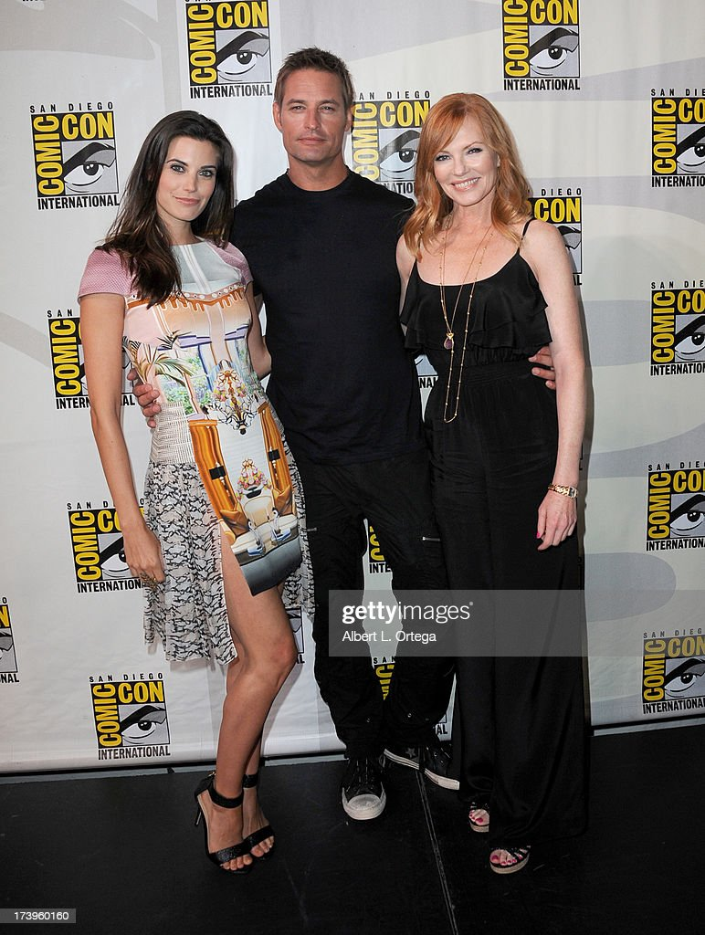 Actors Meghan Ory, Josh Holloway and Marg Helgenberger speak onstage at the 'Intelligence' panel during Comic-Con International 2013 at San Diego Convention Center on July 18, 2013 in San Diego, California.