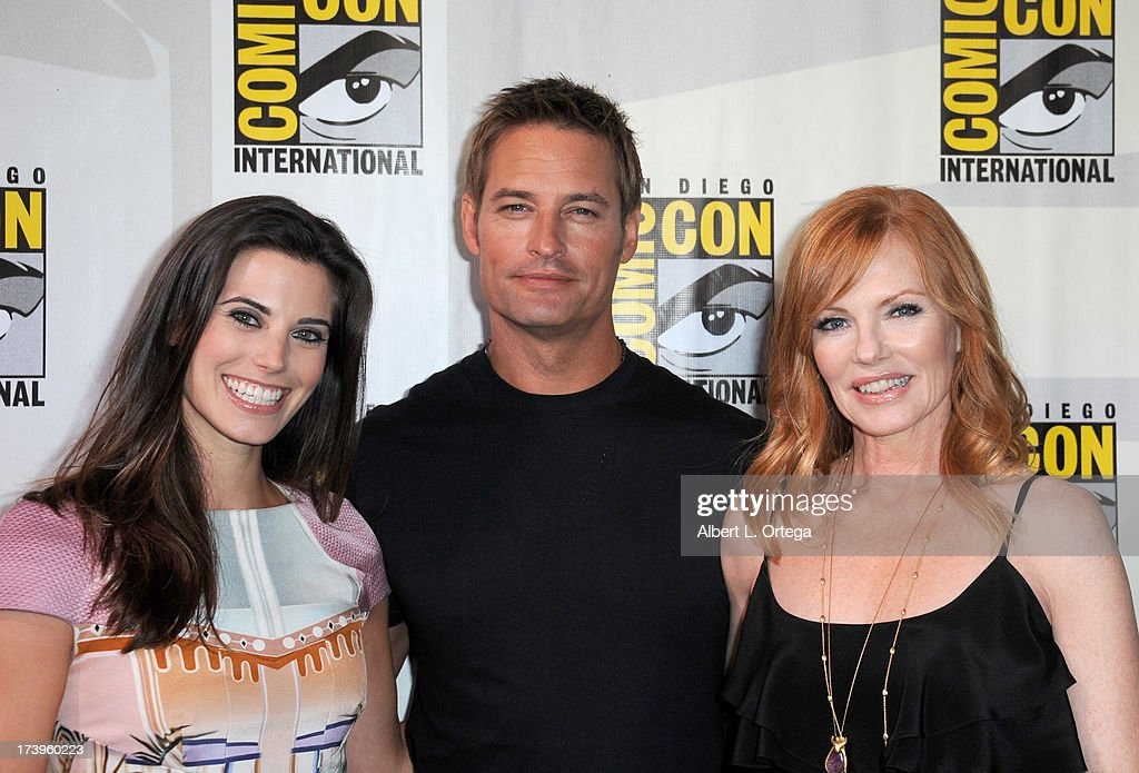 Actors Meghan Ory, <a gi-track='captionPersonalityLinkClicked' href=/galleries/search?phrase=Josh+Holloway&family=editorial&specificpeople=458791 ng-click='$event.stopPropagation()'>Josh Holloway</a> and <a gi-track='captionPersonalityLinkClicked' href=/galleries/search?phrase=Marg+Helgenberger&family=editorial&specificpeople=201493 ng-click='$event.stopPropagation()'>Marg Helgenberger</a> speak onstage at the 'Intelligence' panel during Comic-Con International 2013 at San Diego Convention Center on July 18, 2013 in San Diego, California.