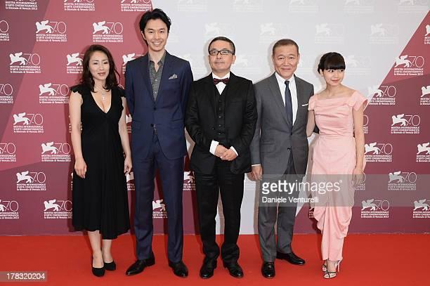 Actors Megumi Kagurazaka Hiroki Hasegawa Director Sion Sono actors Jun Kunimura and Fumi Nikaido attend 'Why Don't You Play In Hell' Photocall during...