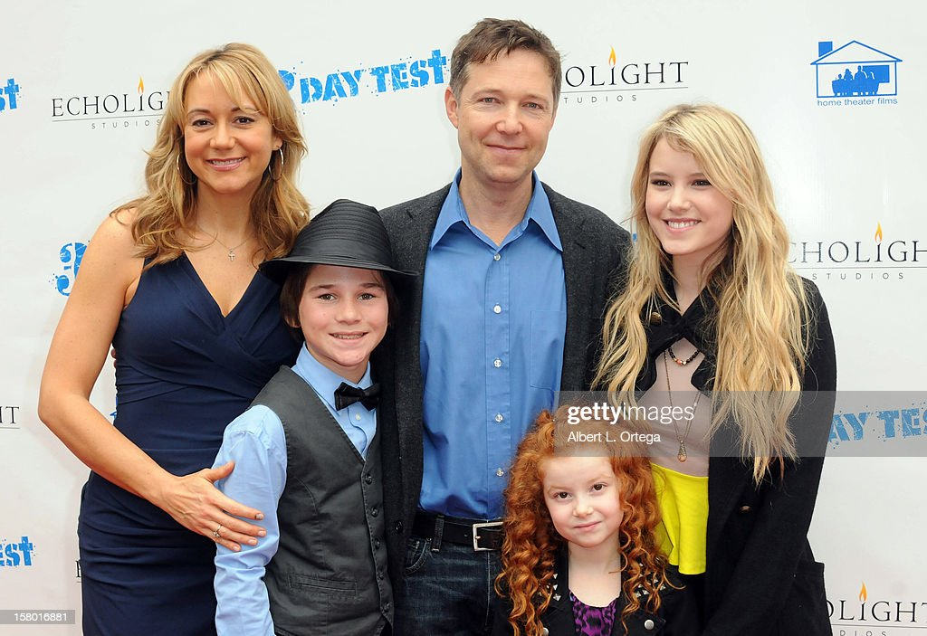 Actors <a gi-track='captionPersonalityLinkClicked' href=/galleries/search?phrase=Megyn+Price&family=editorial&specificpeople=752680 ng-click='$event.stopPropagation()'>Megyn Price</a>, Aidan Potter, George Newbern, Francesca Capaldi and <a gi-track='captionPersonalityLinkClicked' href=/galleries/search?phrase=Taylor+Spreitler&family=editorial&specificpeople=5784396 ng-click='$event.stopPropagation()'>Taylor Spreitler</a> arrive at the screening of '3 Day Test' held at Downtown Independent Theater on December 8, 2012 in Los Angeles, California.