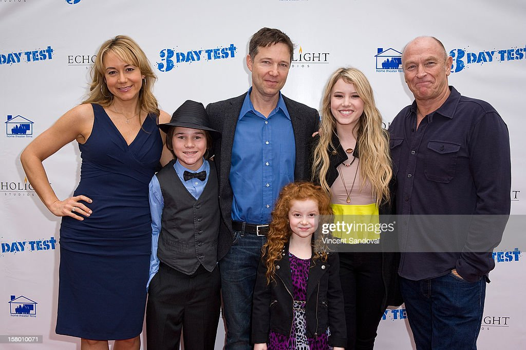 Actors <a gi-track='captionPersonalityLinkClicked' href=/galleries/search?phrase=Megyn+Price&family=editorial&specificpeople=752680 ng-click='$event.stopPropagation()'>Megyn Price</a>, Aidan Potter, George Newbern, Francesca Capaldi, <a gi-track='captionPersonalityLinkClicked' href=/galleries/search?phrase=Taylor+Spreitler&family=editorial&specificpeople=5784396 ng-click='$event.stopPropagation()'>Taylor Spreitler</a> and <a gi-track='captionPersonalityLinkClicked' href=/galleries/search?phrase=Corbin+Bernsen&family=editorial&specificpeople=211428 ng-click='$event.stopPropagation()'>Corbin Bernsen</a> attend the Los Angeles Premiere of '3 Day Test' at Downtown Independent Theatre on December 8, 2012 in Los Angeles, California.