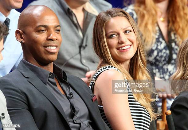 Actors Mehcad Brooks and Melissa Benoist speak onstage during the 'Supergirl' panel discussion at the CBS portion of the 2015 Summer TCA Tour at The...
