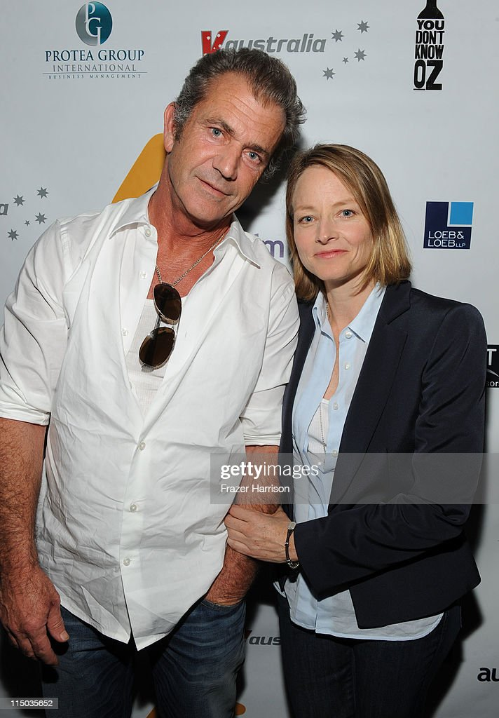 Actors <a gi-track='captionPersonalityLinkClicked' href=/galleries/search?phrase=Mel+Gibson&family=editorial&specificpeople=201512 ng-click='$event.stopPropagation()'>Mel Gibson</a> and <a gi-track='captionPersonalityLinkClicked' href=/galleries/search?phrase=Jodie+Foster&family=editorial&specificpeople=204488 ng-click='$event.stopPropagation()'>Jodie Foster</a> attend the Australians In Film screening of 'The Beaver' at the Harmony Gold Theate on June 1, 2011 in Los Angeles, California.