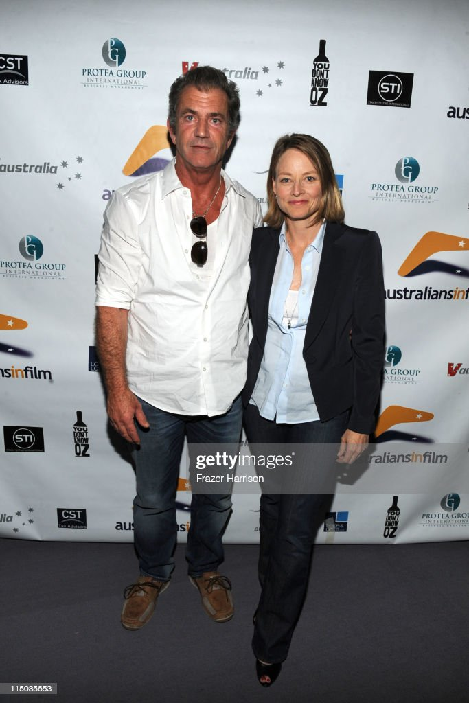 Actors Mel Gibson and Jodie Foster attend the Australians In Film screening of 'The Beaver' at the Harmony Gold Theate on June 1 2011 in Los Angeles...