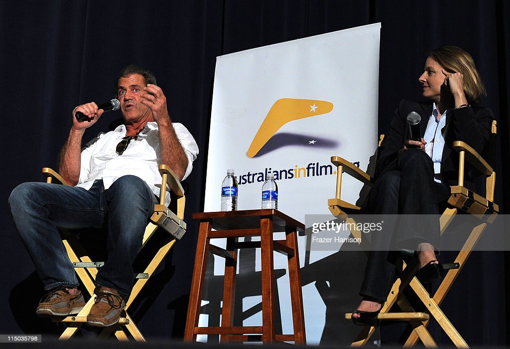 Actors Mel Gibson and Jodie Foster attend the Australians In Film screening of 'The Beaver' at the Harmony Gold Theate on June 1, 2011 in Los Angeles, California.