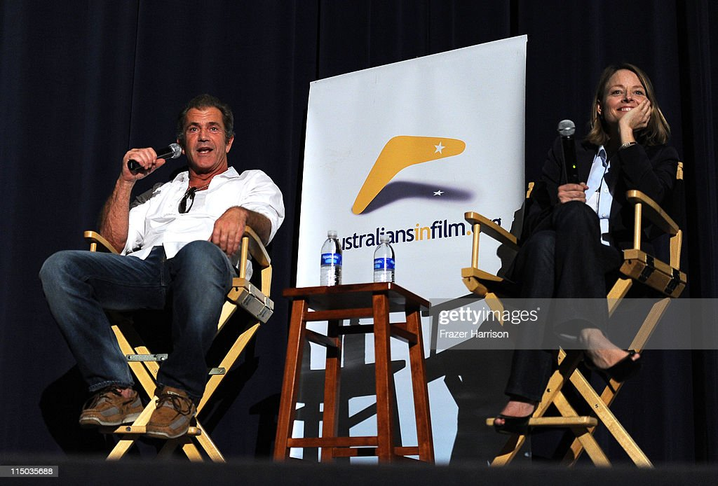 Actors <a gi-track='captionPersonalityLinkClicked' href=/galleries/search?phrase=Mel+Gibson&family=editorial&specificpeople=201512 ng-click='$event.stopPropagation()'>Mel Gibson</a> and <a gi-track='captionPersonalityLinkClicked' href=/galleries/search?phrase=Jodie+Foster&family=editorial&specificpeople=204488 ng-click='$event.stopPropagation()'>Jodie Foster</a> speak at the Q+A at the Australians In Film screening of 'The Beaver' at the Harmony Gold Theate on June 1, 2011 in Los Angeles, California.