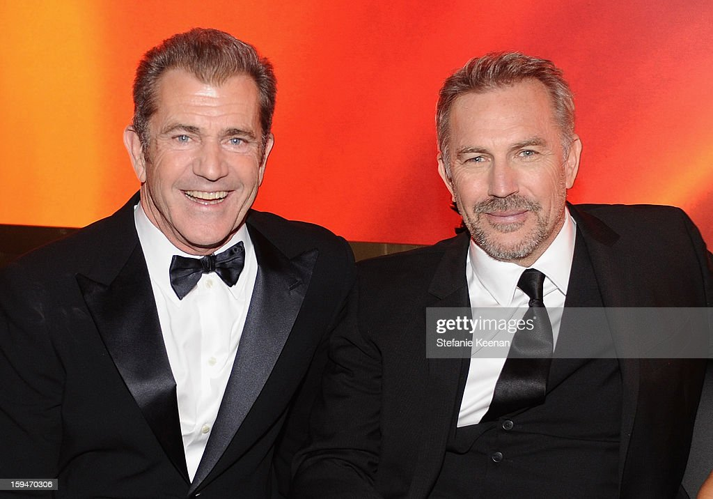 Actors Mel Gibson and Kevin Costner attends the 2013 InStyle and Warner Bros 70th Annual Golden Globe Awards PostParty held at the Oasis Courtyard in...