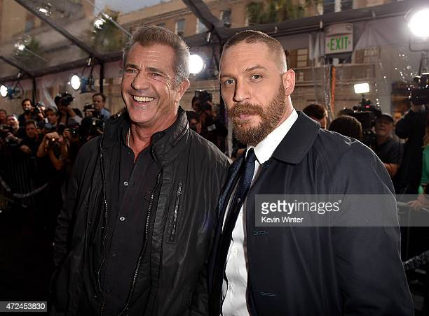 Actors Mel Gibson and Tom Hardy attend the premiere of Warner Bros Pictures' 'Mad Max Fury Road' at TCL Chinese Theatre on May 7 2015 in Hollywood...