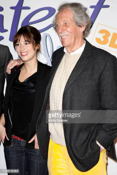 Actors Melanie Bernier and Jean Rochefort attend the Titeuf 3D premiere at Le Grand Rex on March 27 2011 in Paris France