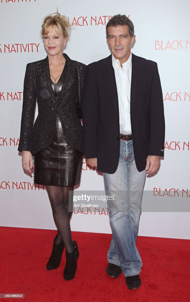 Actors Melanie Griffith and Antonio Banderas attend the 'Black Nativity' premiere at The Apollo Theater on November 18, 2013 in New York City.