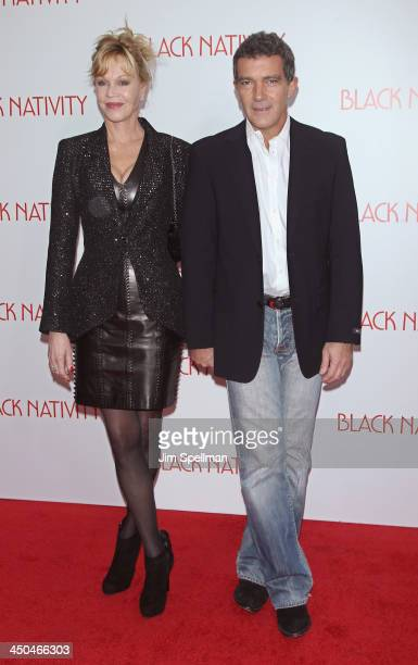 Actors Melanie Griffith and Antonio Banderas attend the 'Black Nativity' premiere at The Apollo Theater on November 18 2013 in New York City