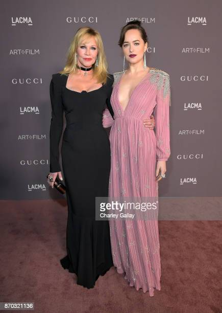 Actors Melanie Griffith and Dakota Johnson wearing Gucci attend the 2017 LACMA Art Film Gala Honoring Mark Bradford And George Lucas at LACMA on...