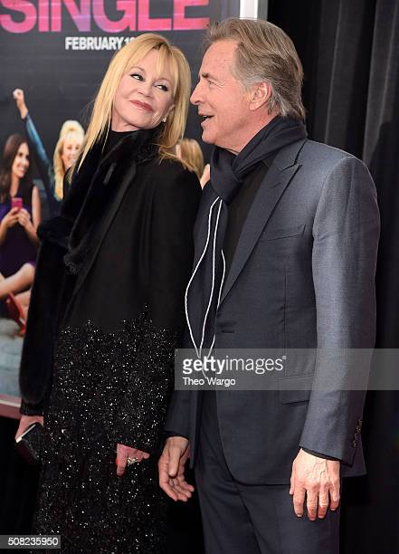 Actors Melanie Griffith and Don Johnson attend the New York premiere of 'How To Be Single' at the NYU Skirball Center on February 3 2016 in New York...