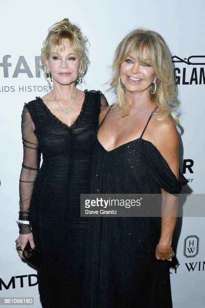 Actors Melanie Griffith and Goldie Hawn attend the amfAR Gala 2017 at Ron Burkle's Green Acres Estate on October 13 2017 in Beverly Hills California
