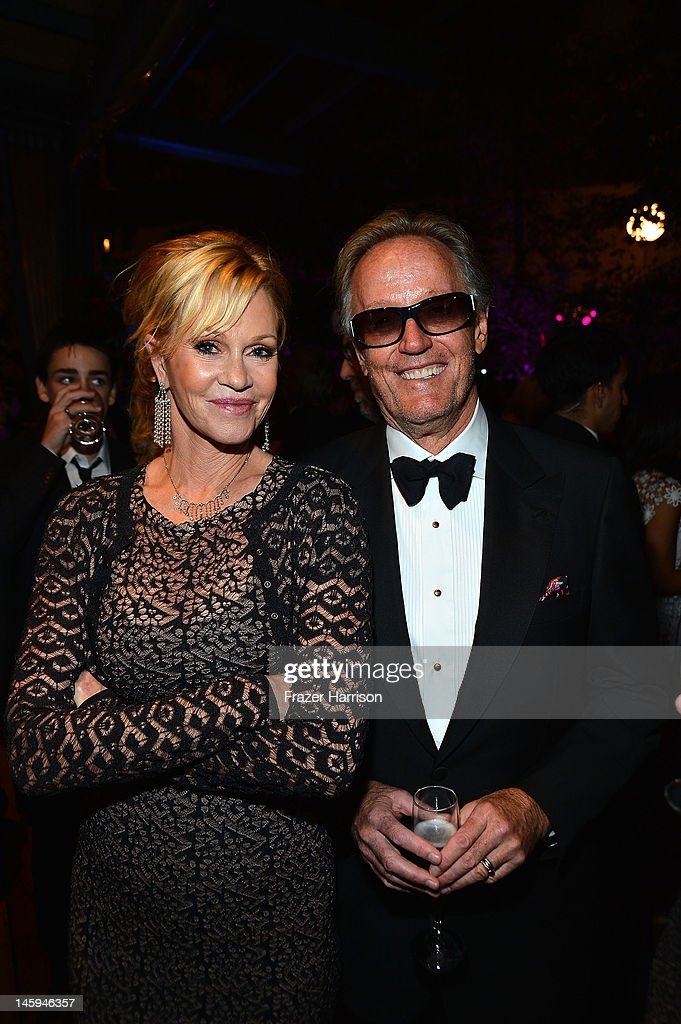 Actors <a gi-track='captionPersonalityLinkClicked' href=/galleries/search?phrase=Melanie+Griffith&family=editorial&specificpeople=171682 ng-click='$event.stopPropagation()'>Melanie Griffith</a> and <a gi-track='captionPersonalityLinkClicked' href=/galleries/search?phrase=Peter+Fonda&family=editorial&specificpeople=213498 ng-click='$event.stopPropagation()'>Peter Fonda</a> attend the after party for the 40th AFI Life Achievement Award honoring Shirley MacLaine held at Sony Pictures Studios on June 7, 2012 in Culver City, California. The AFI Life Achievement Award tribute to Shirley MacLaine will premiere on TV Land on Saturday, June 24 at 9PM