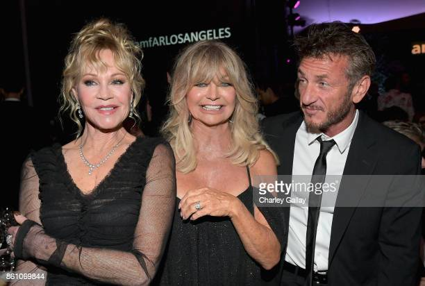 Actors Melanie Griffith Goldie Hawn and Sean Penn attend the amfAR Gala Los Angeles 2017 at Ron Burkle's Green Acres Estate on October 13 2017 in...