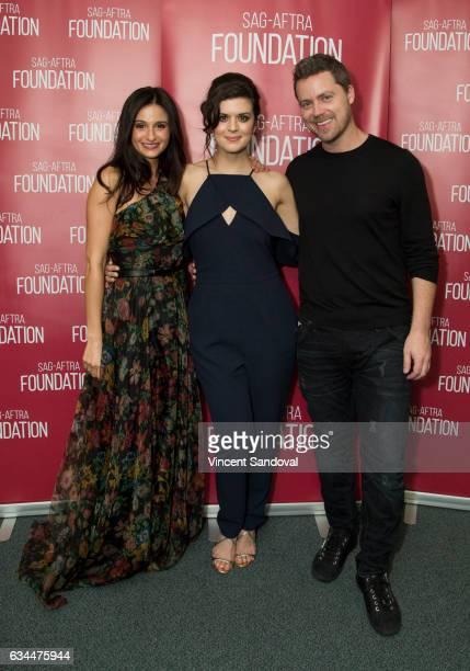 Actors Melanie Papalia Priscilla Faia and Greg Poehler attend SAGAFTRA Foundation's Conversations with 'You Me Her' at SAGAFTRA Foundation Screening...
