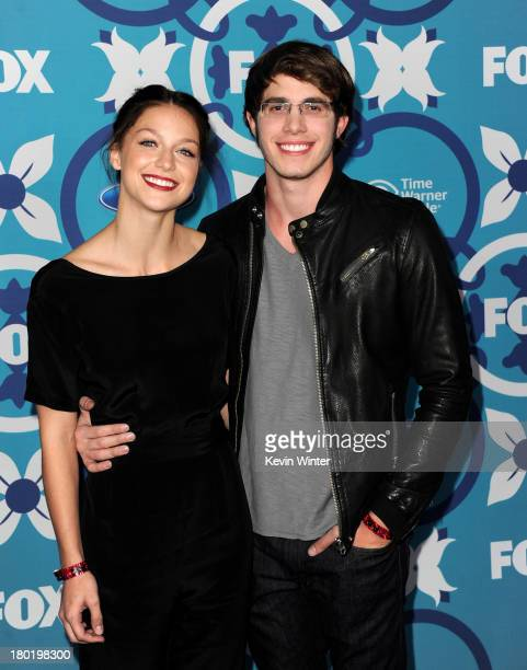 Actors Melissa Benoist and Blake Jenner arrive at the Fox Fall EcoCasino Party at The Bungalow on September 9 2013 in Santa Monica California
