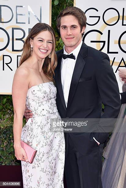 Actors Melissa Benoist and Blake Jenner attend the 73rd Annual Golden Globe Awards held at the Beverly Hilton Hotel on January 10 2016 in Beverly...