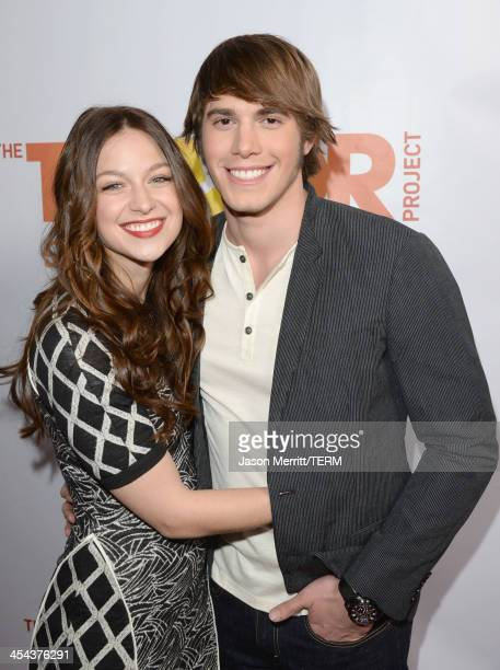 Actors Melissa Benoist and Blake Jenner attend 'TrevorLIVE LA' honoring Jane Lynch and Toyota for the Trevor Project at Hollywood Palladium on...