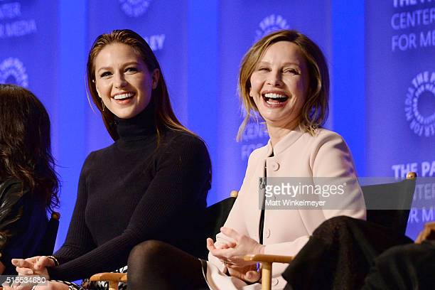Actors Melissa Benoist and Calista Flockhart attend The Paley Center For Media's 33rd Annual PALEYFEST Los Angeles 'Supergirl' at Dolby Theatre on...