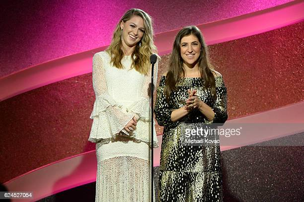 Actors Melissa Benoist and Mayim Bialik speak onstage during Moet Chandon Celebrates The 2016 Young Women's Honors at Marina del Rey Marriott on...