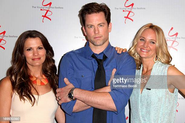 Actors Melissa Claire Egan Michael Muhney and Sharon Case attend the SAGAFTRA presents'The Young And The Restless' celebrating 40 years held at...