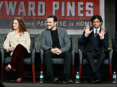 Actors Melissa Leo and Matt Dillon and executive producer/director M Night Shyamalan speak onstage during the 'Wayward Pines' panel discussion at the...