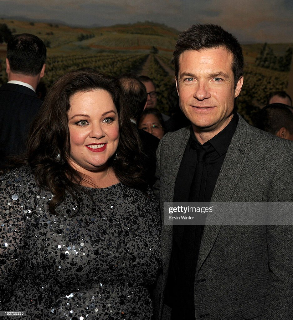 Actors <a gi-track='captionPersonalityLinkClicked' href=/galleries/search?phrase=Melissa+McCarthy&family=editorial&specificpeople=880291 ng-click='$event.stopPropagation()'>Melissa McCarthy</a> (L) and <a gi-track='captionPersonalityLinkClicked' href=/galleries/search?phrase=Jason+Bateman&family=editorial&specificpeople=204774 ng-click='$event.stopPropagation()'>Jason Bateman</a> pose at the after party for the premiere of Universal Pictures' 'Identity Thief' at Napa Valley Grille on February 4, 2013 in Los Angeles, California.