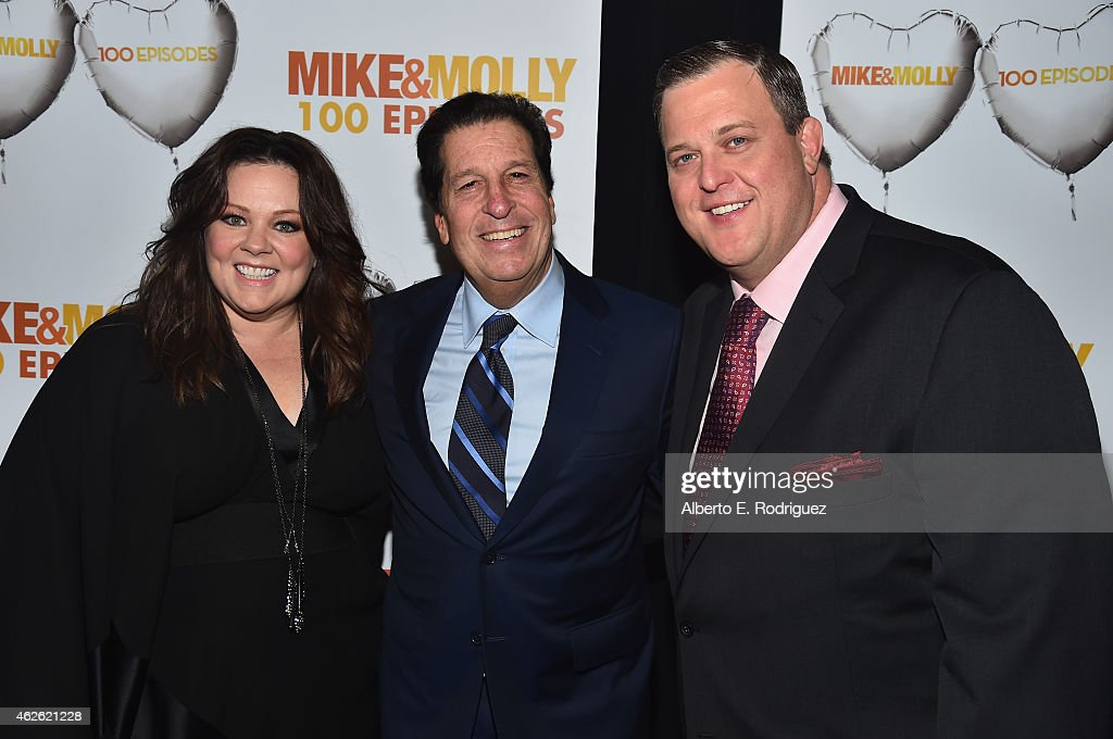 Actors Melissa McCarthy, Billy Gardell and Peter Roth, hief Content Officer, Warner Bros. Television Group attend CBS's 'Mike & Molly' 100th Episode celebration at Cicada on January 31, 2015 in Los Angeles, California.