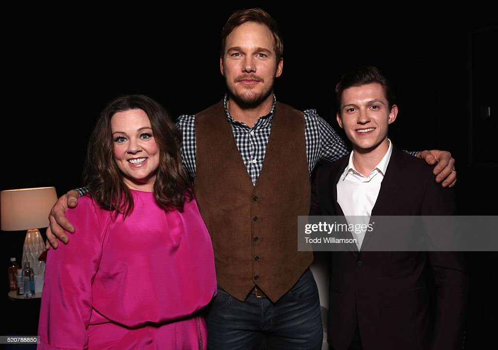 Actors Melissa McCarthyChris Pratt and Tom Holland attend CinemaCon 2016 An Evening with Sony Pictures Entertainment Celebrating the Summer of 2016...