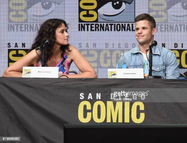 Actors Melissa Ponzio and Charlie Carver speak onstage at the 'Teen Wolf' panel during ComicCon International 2017 at San Diego Convention Center on...