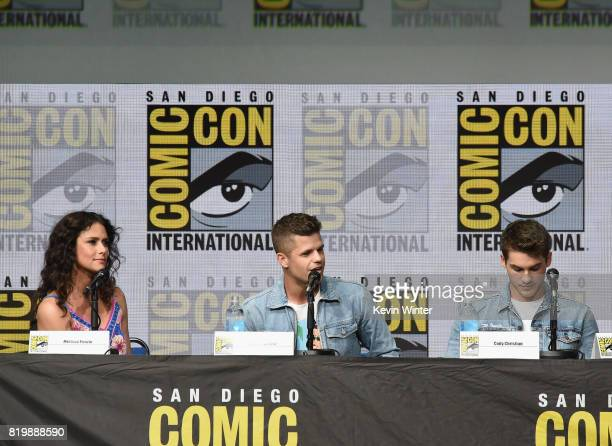 Actors Melissa Ponzio Charlie Carver and Cody Christian speak onstage at the 'Teen Wolf' panel during ComicCon International 2017 at San Diego...