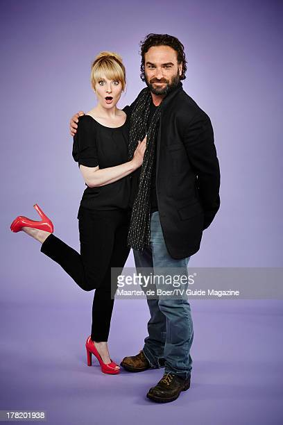 Actors Melissa Rauch and Johnny Galecki are photographed for TV Guide Magazine on July 19 2013 on the TV Guide Magazine Yacht in San Diego California...