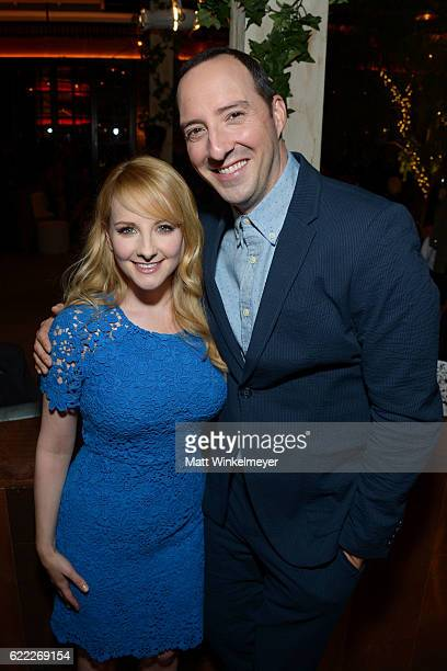 Actors Melissa Rauch and Tony Hale attend the Hollywood Foreign Press Association and InStyle celebrate the 2017 Golden Globe Award Season at Catch...