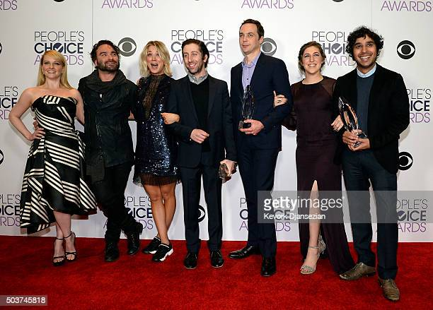 Actors Melissa Rauch Johnny Galecki Kaley Cuoco Simon Helberg Jim Parsons Mayim Bialik and Kunal Nayyar winners of Favorite Network TV Comedy and...