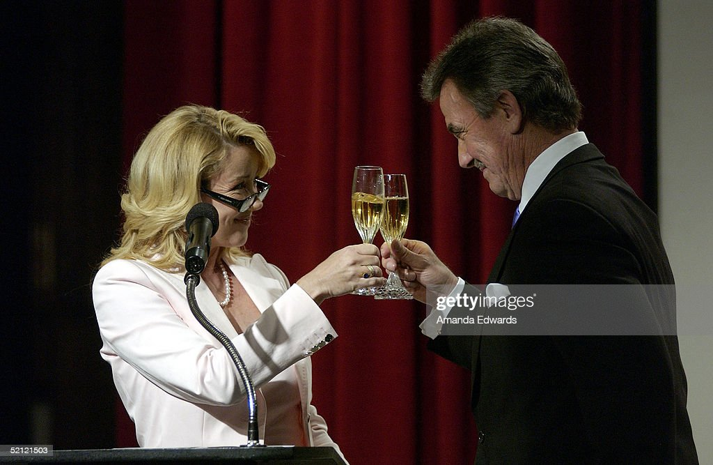 Actors Melody Thomas Scott and Eric Braeden celebrate Braeden's 25th anniversary playing legendary character Victor Newman on 'The Young and The Restless' at a special ceremony on February 1, 2005 at CBS Television City in Los Angeles, California.