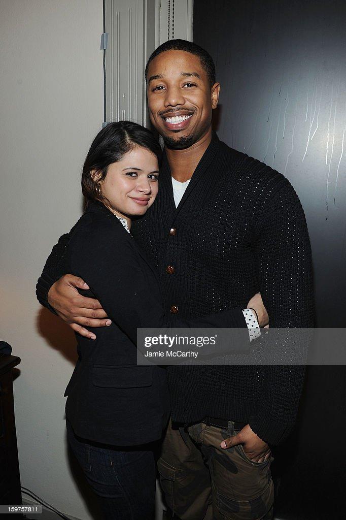 Actors Melonie Diaz and Michael B. Jordan attend the Grey Goose Blue Door 'Fruitvale' Dinner on January 19, 2013 in Park City, Utah.