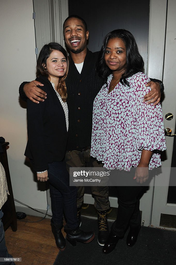Actors <a gi-track='captionPersonalityLinkClicked' href=/galleries/search?phrase=Melonie+Diaz&family=editorial&specificpeople=3323742 ng-click='$event.stopPropagation()'>Melonie Diaz</a>, Michael B. Jordan and <a gi-track='captionPersonalityLinkClicked' href=/galleries/search?phrase=Octavia+Spencer&family=editorial&specificpeople=2538115 ng-click='$event.stopPropagation()'>Octavia Spencer</a> attend the Grey Goose Blue Door 'Fruitvale' Dinner on January 19, 2013 in Park City, Utah.