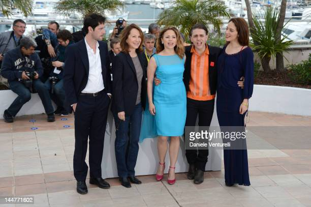 Actors Melvil Poupaud Nathalie Baye Suzanne Clement Director Xavier Dolan and actress Monia Chokri attend the 'Laurence Anyways' Photocall during the...