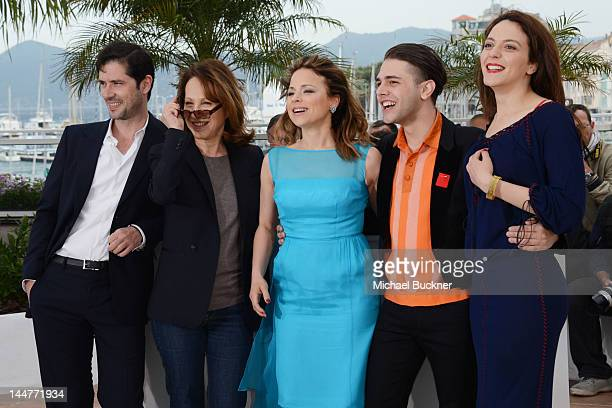 Actors Melvil Poupaud Nathalie Baye Suzanne Clement Xavier Dolan and Monia Chokri pose at the 'Laurence Anyways' photocall during the 65th Annual...