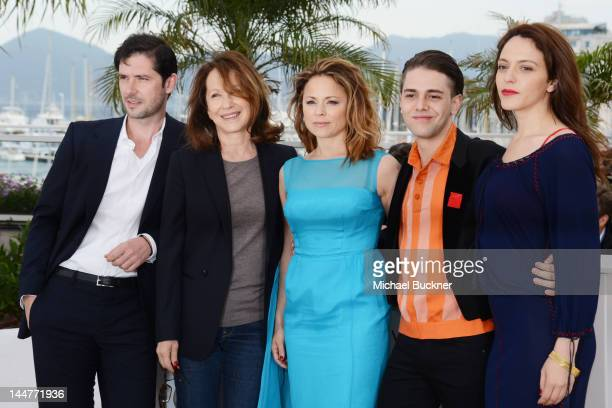 Actors Melvil Poupaud Nathalie Baye Suzanne Clement Xavier Dolan Monia Chokri pose at the 'Laurence Anyways' photocall during the 65th Annual Cannes...