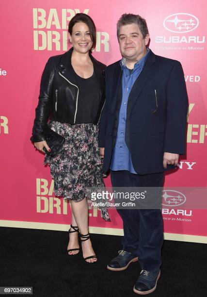 Actors Meredith Salenger and Patton Oswalt arrive at the premiere of 'Baby Driver' at Ace Hotel on June 14 2017 in Los Angeles California